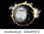 Burning Earth globe. 3d illustration.