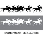Stock vector horse racing jockeys on horses galloping on the racetrack black and white silhouettes of riders 336660488
