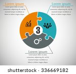 three piece flat puzzle round... | Shutterstock .eps vector #336669182