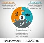 three piece flat puzzle round... | Shutterstock .eps vector #336669182