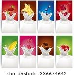 milk splash with raspberry ... | Shutterstock .eps vector #336674642