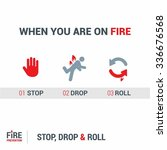 when you are on fire 1. stop 2. ...   Shutterstock .eps vector #336676568