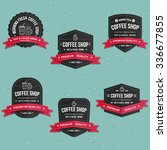 coffee shop labels  banner and... | Shutterstock .eps vector #336677855