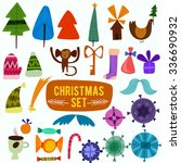 christmas set in cartoon style... | Shutterstock .eps vector #336690932