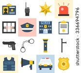 vector police icons set  flat... | Shutterstock .eps vector #336694796