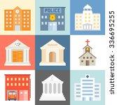 Vector Public Building Icons...