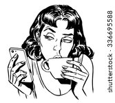 morning girl coffee tea phone...   Shutterstock . vector #336695588