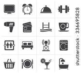 black hotel and motel... | Shutterstock .eps vector #336695828