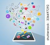 tablet computer concept doodle... | Shutterstock .eps vector #336697292