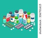 flat 3d isometric pharmaceutics ... | Shutterstock .eps vector #336701615