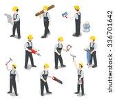 flat 3d isometric builder... | Shutterstock .eps vector #336701642