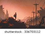 woman hiker looking at...   Shutterstock . vector #336703112