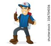 exterminator holding pest... | Shutterstock .eps vector #336704036