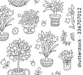 Seamless Pattern Doodle Plants...