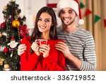 merry christmas. young couple... | Shutterstock . vector #336719852