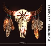 buffalo skull with feathers.... | Shutterstock .eps vector #336720596