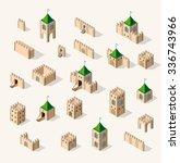 set old fortress fort.... | Shutterstock .eps vector #336743966
