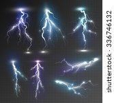 Realistic Lightnings Set With...