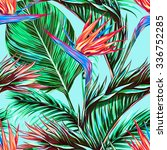 tropical flowers  palm leaves ... | Shutterstock .eps vector #336752285