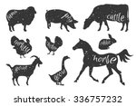 Stock vector set of farm animals silhouettes beef lamb pork rabbit chicken goose turkey meat butcher 336757232