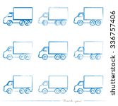 Collection of painted delivery truck vectors with different tools like brushes, chalk, ink, pen. Blue grungy logistic shapes isolated on white background.