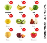 lemon  apple and banana. kiwi ... | Shutterstock . vector #336758996