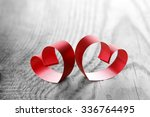 Red Ribbon Hearts On Wooden...