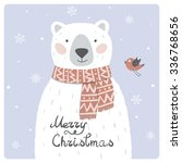 christmas card with cute polar... | Shutterstock .eps vector #336768656