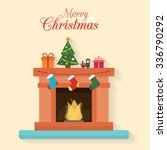 christmas fireplace with socks  ... | Shutterstock .eps vector #336790292