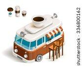 cafe car coffee shop on wheels. ... | Shutterstock .eps vector #336800162