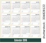 calendar 2016. vector... | Shutterstock .eps vector #336828122