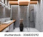 3d render of a bathroom in a... | Shutterstock . vector #336833192