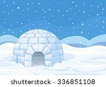 illustration of an igloo on... | Shutterstock .eps vector #336851108