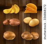 potatoes vector set on wooden... | Shutterstock .eps vector #336868172