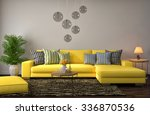 interior with yellow sofa. 3d... | Shutterstock . vector #336870536