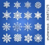 set of white snowflakes cut out ... | Shutterstock . vector #336871175