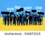 protest people crowd silhouette ... | Shutterstock .eps vector #336872315
