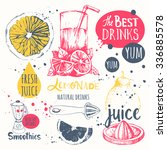 drinks in sketch style. useful... | Shutterstock .eps vector #336885578