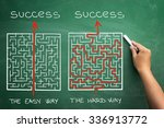 Stock photo hard and easy way illustrated shown by maze on blackboard 336913772