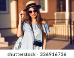 young pretty hipster cheerful... | Shutterstock . vector #336916736
