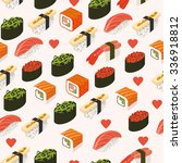 vector sushi menu template with ... | Shutterstock .eps vector #336918812