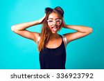 young pretty sexy girl going... | Shutterstock . vector #336923792