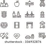 new york set of outline icons | Shutterstock .eps vector #336932876