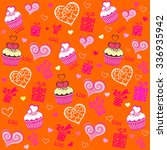 seamless valentine pattern with ... | Shutterstock .eps vector #336935942