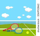 rackets and ball at tennis... | Shutterstock .eps vector #336952862