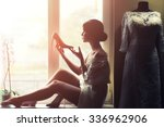 silhouette of one young... | Shutterstock . vector #336962906