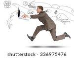 businessman running fast with... | Shutterstock . vector #336975476