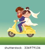 the newlyweds go on a moped...
