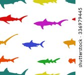 set of silhouettes of sharks on ... | Shutterstock .eps vector #336979445