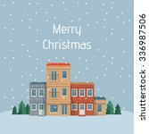 christmas town. street with... | Shutterstock .eps vector #336987506